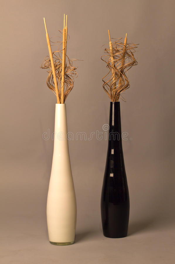 Still life with glass vases. And twigs of willow stock photography