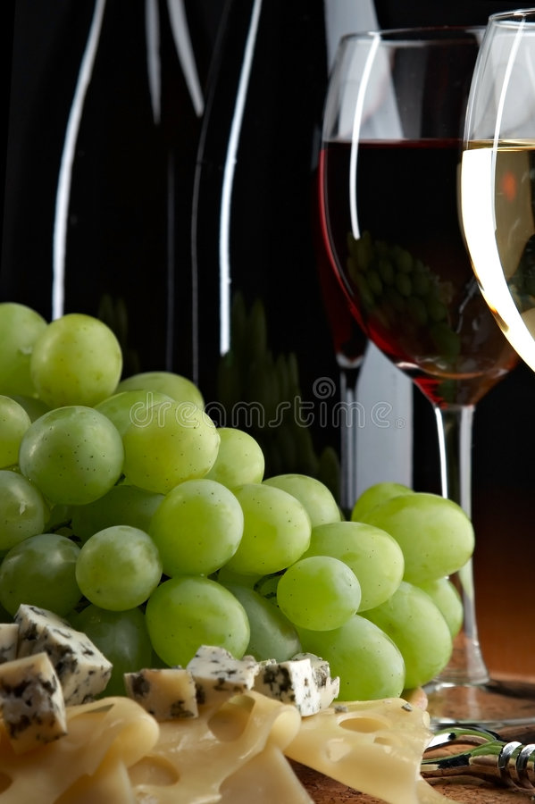 Still life with grape, cheese and wine stock photo