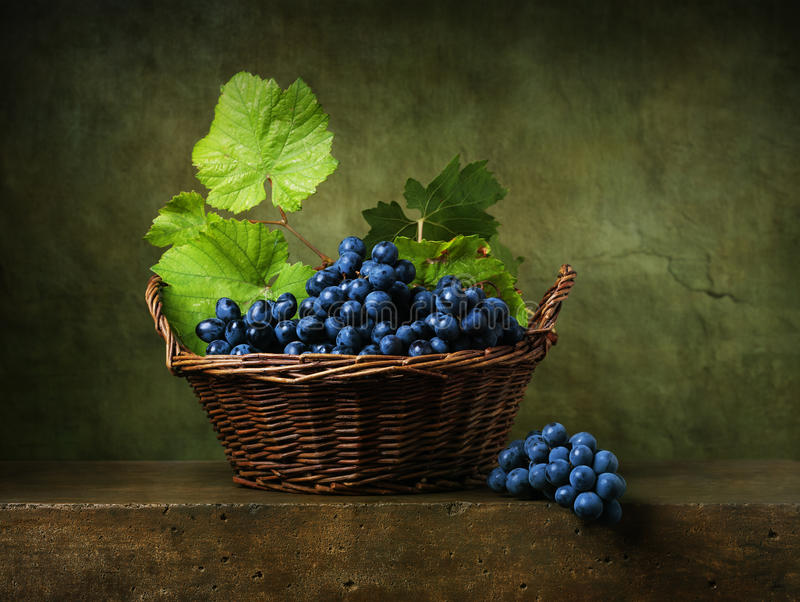 Still life with grapes in basket royalty free stock photography