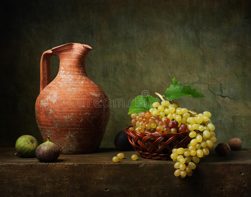 Still life with grapes and figs royalty free stock images