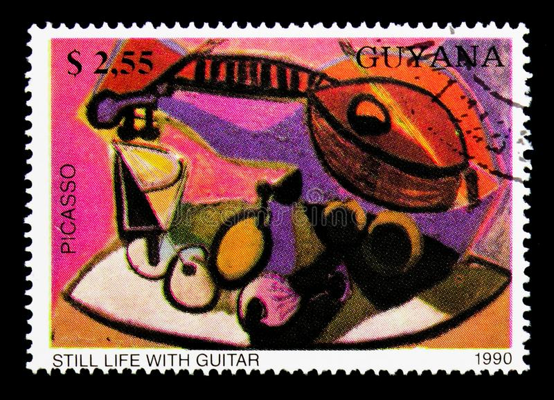 Still Life with Guitar, by Picasso, Paintings serie, circa 1990 stock photos