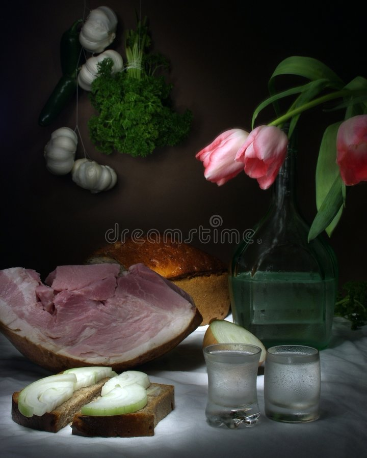 Still Life With Ham royalty free stock image