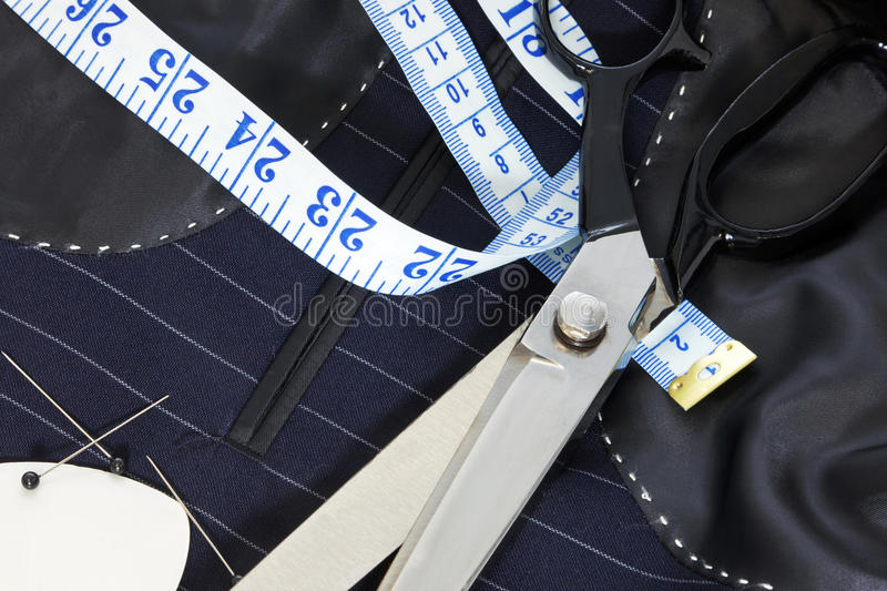 Still life hand stitched suit lining. royalty free stock image
