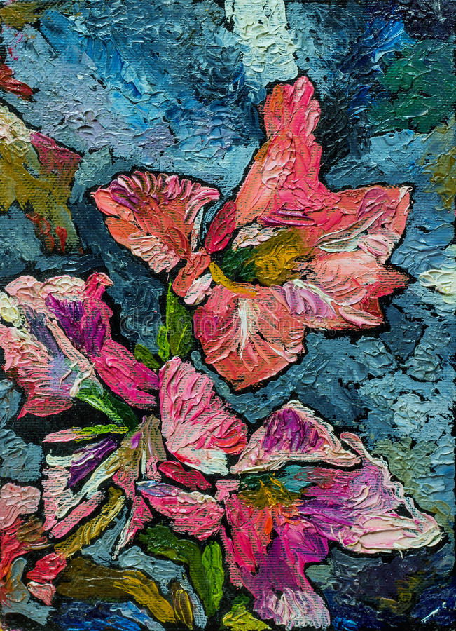 Still life with irises. Oil painting of still life with orange and pink irises flowers in shade of black gray and blue On Canvas with texture royalty free illustration