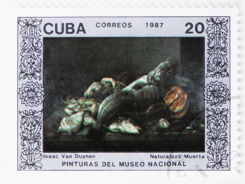 Still Life of Isaac of Duynen, Paintings from the National Museum serie, circa 1987. MOSCOW, RUSSIA - JULY 25, 2019: Postage stamp printed in Cuba shows Still royalty free stock photos