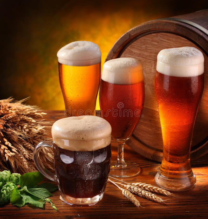 Still Life with a keg of beer stock images