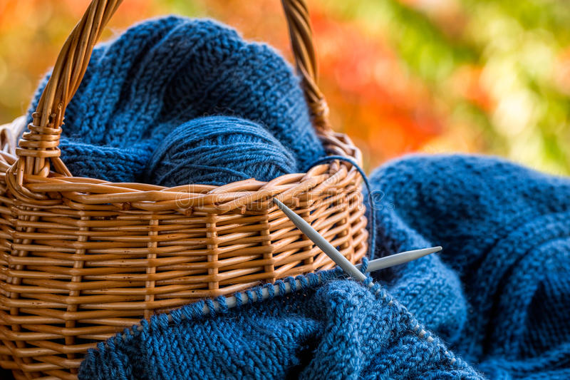 Still life with knitting and pottle royalty free stock photo