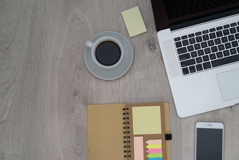 Business desk - flat layout office stock photos
