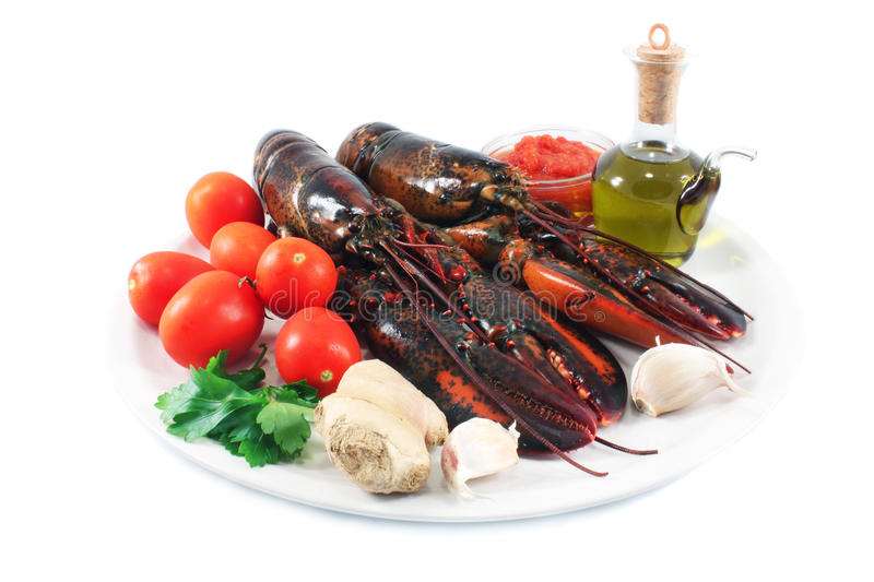 Still life with lobster stock photos