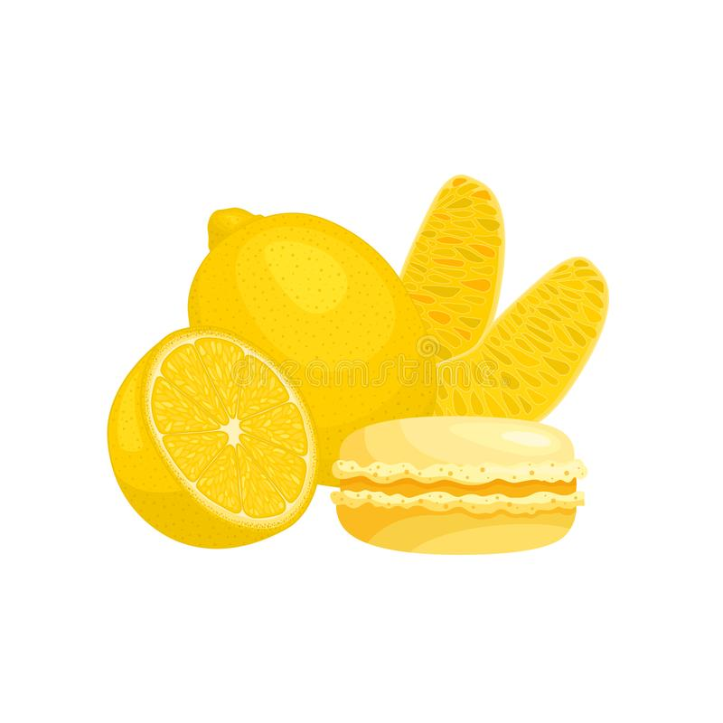 Still life with macaroon and and lemons. Vector banner with french dessert royalty free illustration