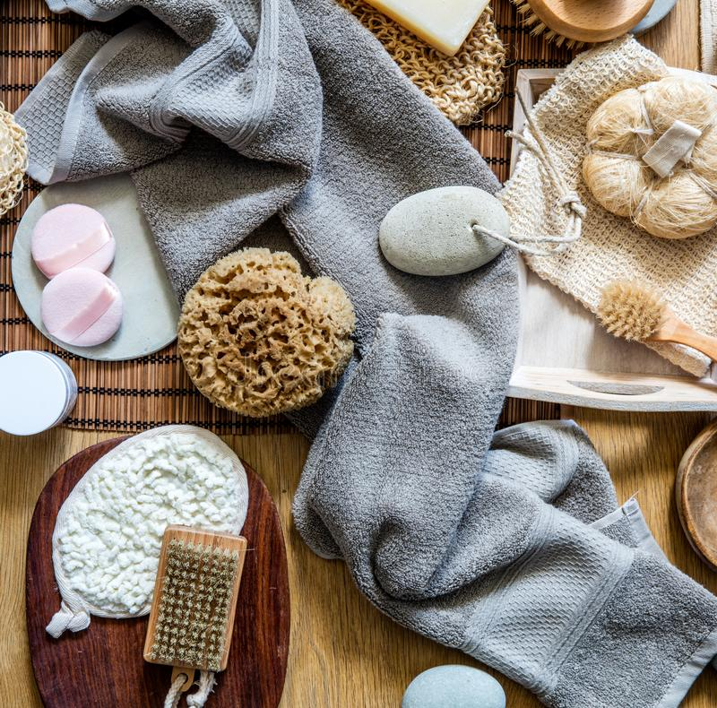 Natural sponge, loofah, body and manicure brushes for green beauty stock photo