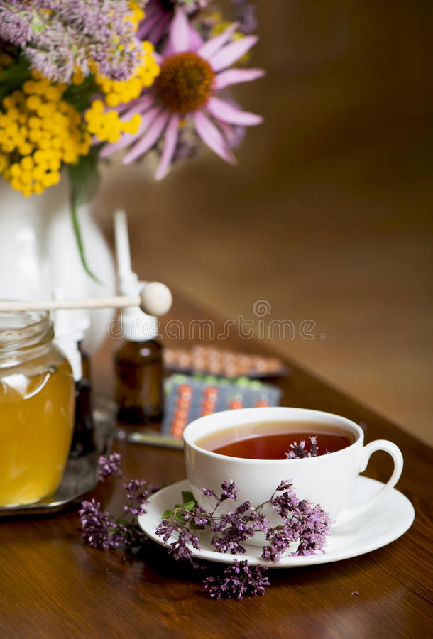 Download Still Life From Medicinal Herbs, Honey, Herbal Tea And Medicines Stock Photo - Image: 40210842
