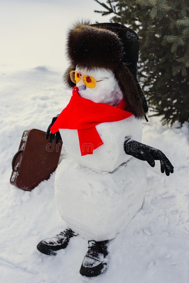 Still life of Merry Christmas and a Happy New Year. A happy snowman in a fur sable hat, red mincemeat and sunglasses with a suitca royalty free stock photography