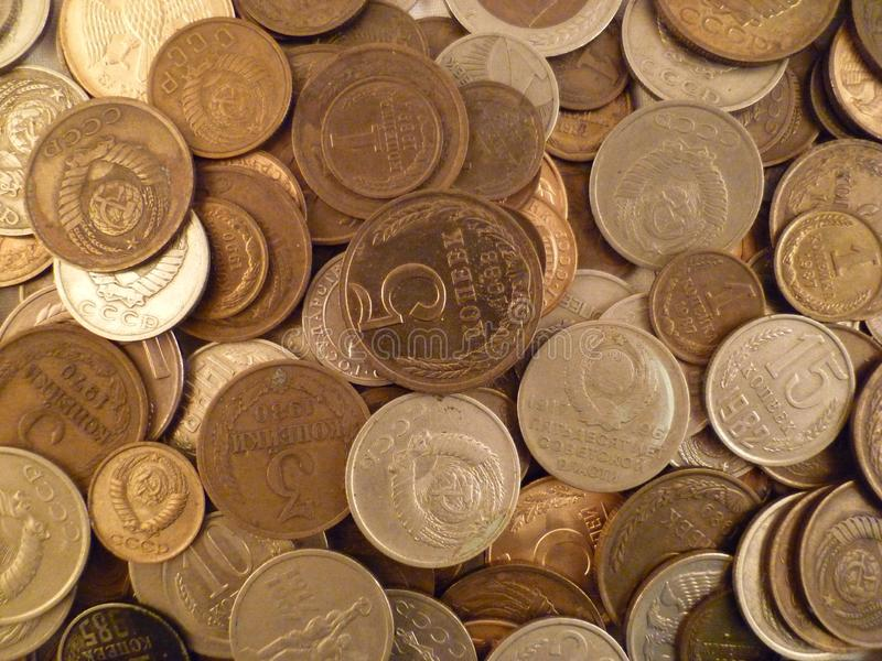 Coins of the USSR different values.Still-life. stock photos