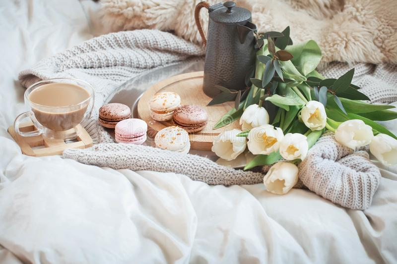 Still-life morning breakfast with coffee and macaroon royalty free stock images