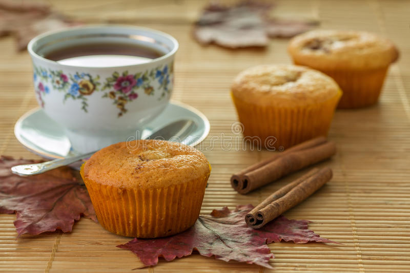 Still life with muffins and cinnamon stock photography