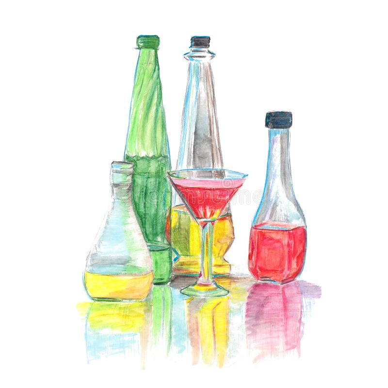Multicolored glass bottles with watercolor pencils vector illustration