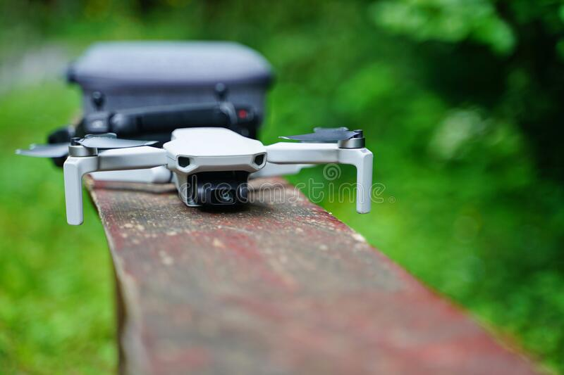 Small Drone still life in the forest royalty free stock images