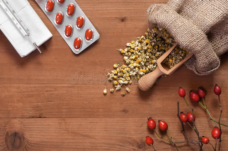 Still life with natural medicines royalty free stock image