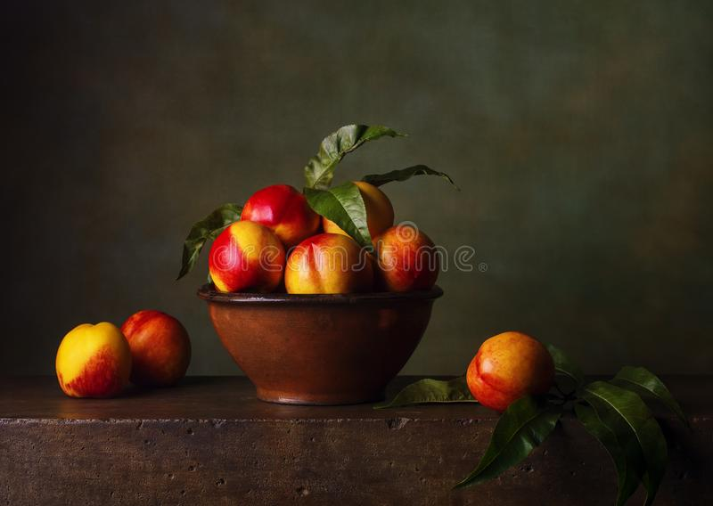 Still life with nectarines royalty free stock photography