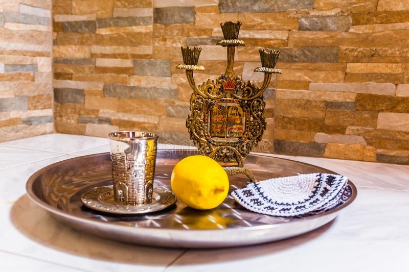 Still life with objects Judaica stock photos