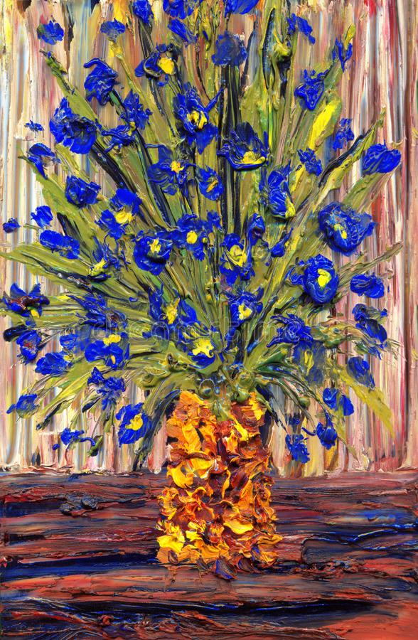 Still life oil. Bouquet of blue flowers in a yellow vase stock illustration