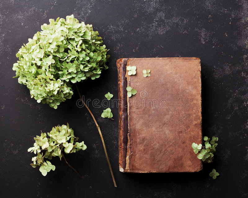 Still life with old book and dried flowers hydrangea on black vintage table top view. Flat lay styling. stock image