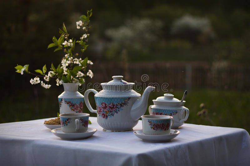 Still life with old tea set royalty free stock images