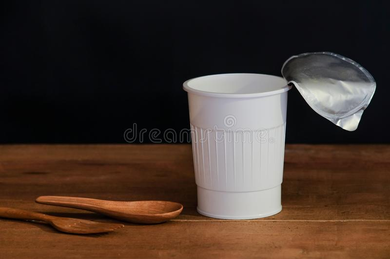 Still life open white cup on black royalty free stock photos