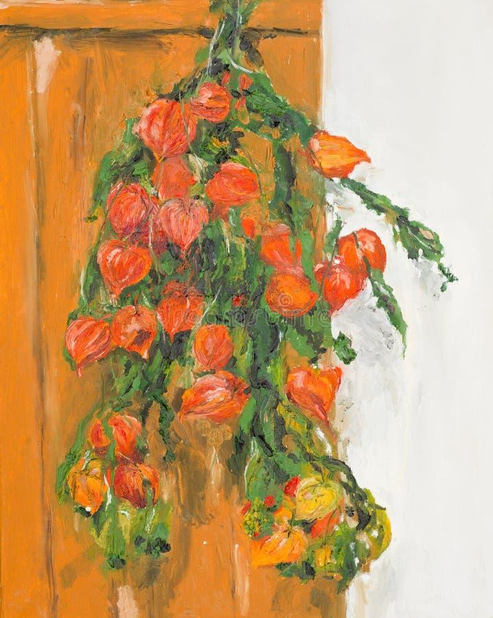Still life of orange physalis flowers vector illustration