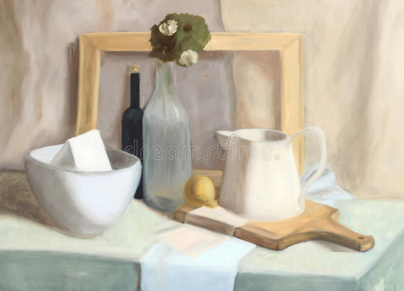 Still life painting stock illustration