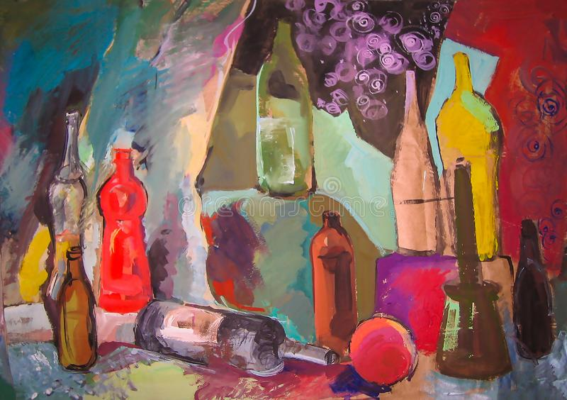 Still life painting drawing of stylized bottles and other objects stock image