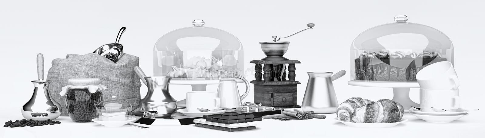 Still life panorama with coffee grains, cake, with a coffee mug, with croissants, chocolate, marshmallow and jam stock images