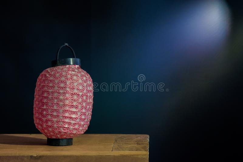 Still life of Paper lantern on wood. Table royalty free stock photos