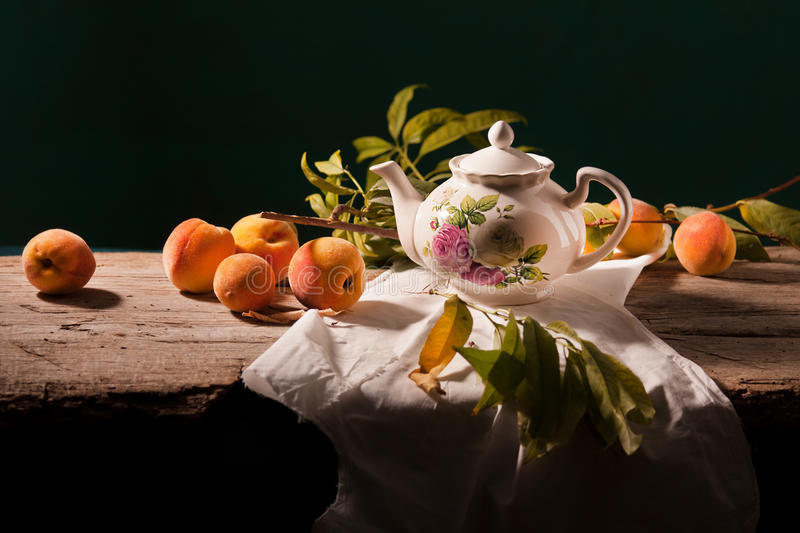 Still life with peaches stock image