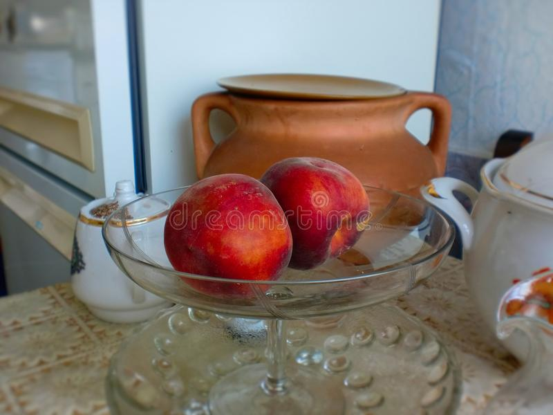 Still life.Still life with peaches. royalty free stock image
