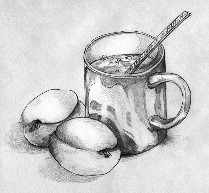 Download Still Life With Peaches And A Mug Of Coffee Or Tea Stock Illustration - Image: 33020921