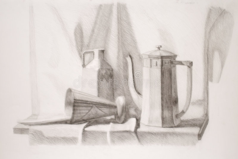 Still life pencil drawing stock photography