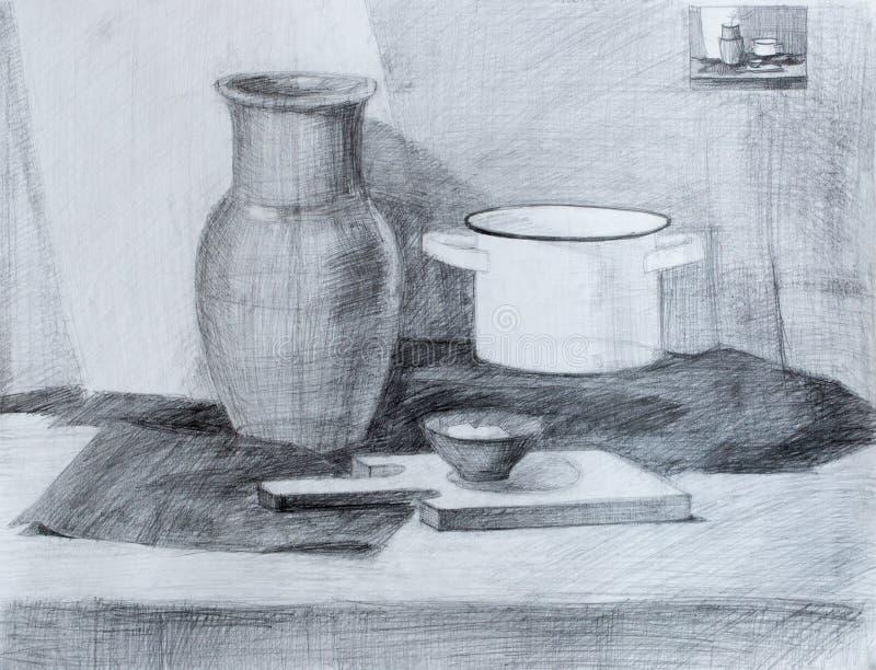 Still life, pencil drawing stock photography