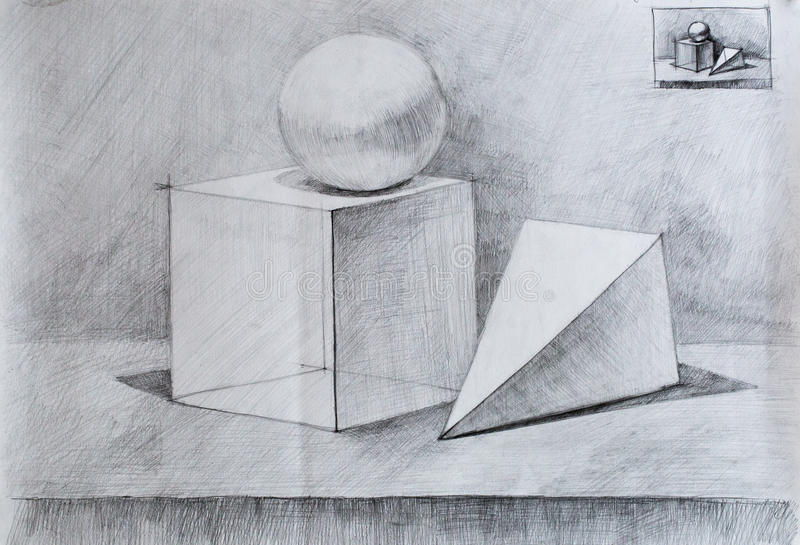 Still life, pencil drawing for you royalty free stock photo