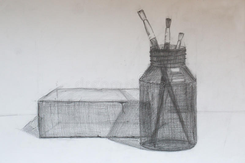 Still life, pencil drawing stock images