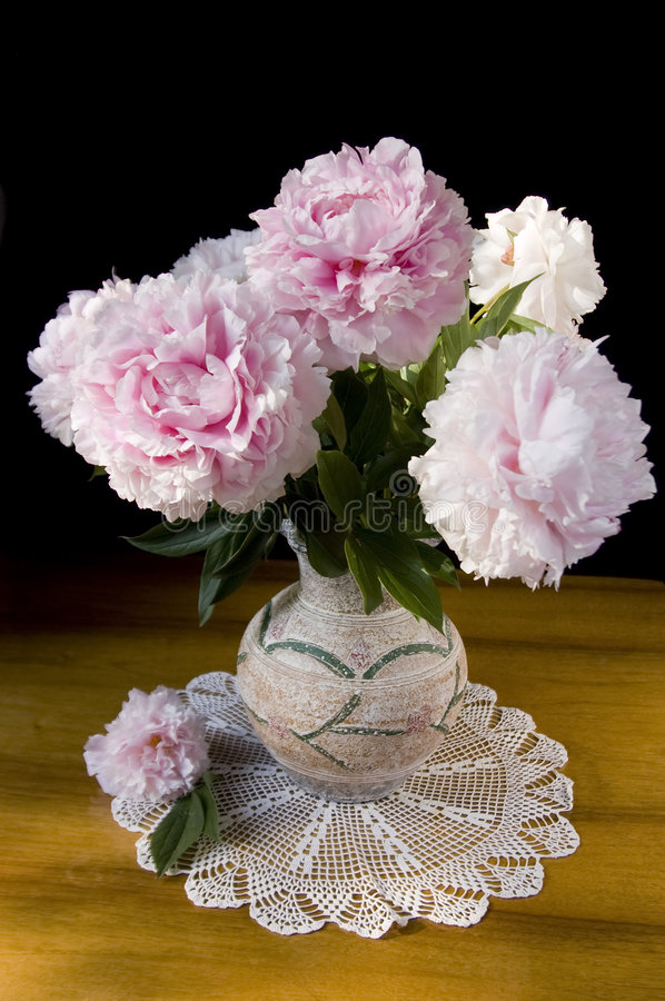 Still-life with peony. Still-life with pink peony in vase royalty free stock photo