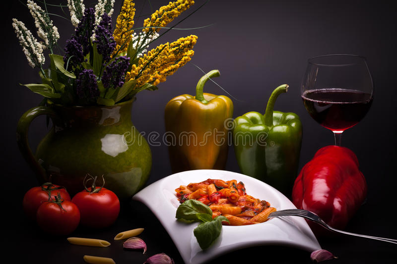Still Life With Peperoni And Pasta royalty free stock images