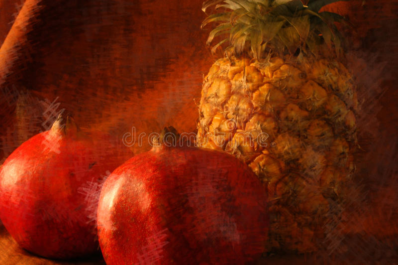 Still life of a pinepple with two pomegranates stock images