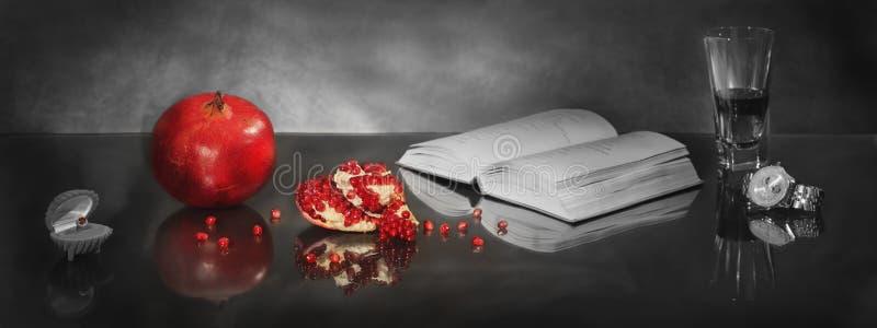 Still life with pomegranate Love story royalty free stock photos