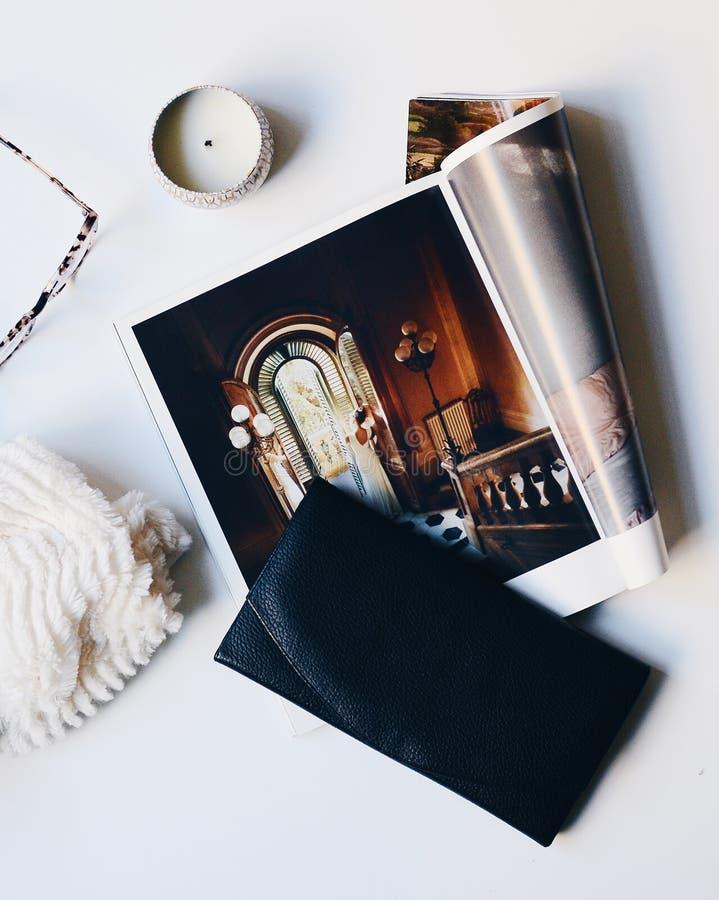 Still life with print magazine royalty free stock photos