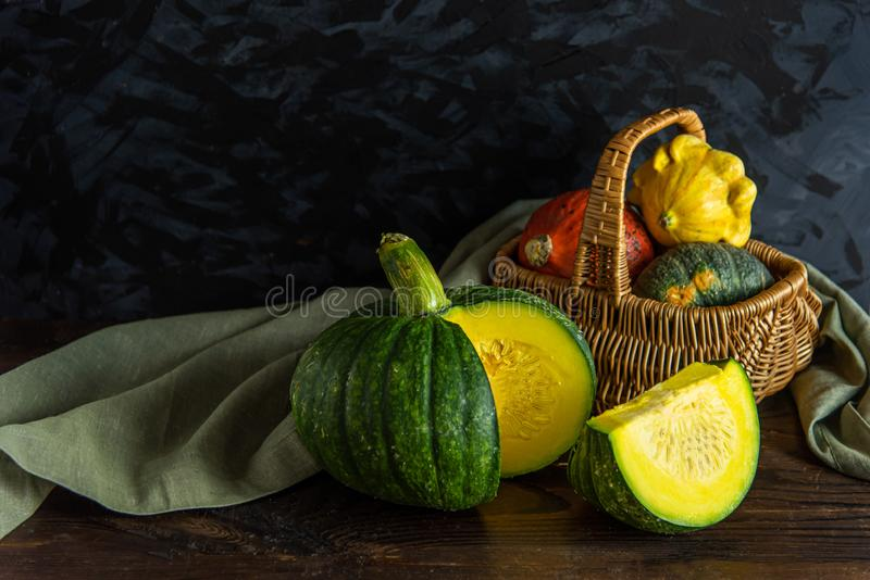 Still Life of Pumpkin on dark background and black wall royalty free stock photo