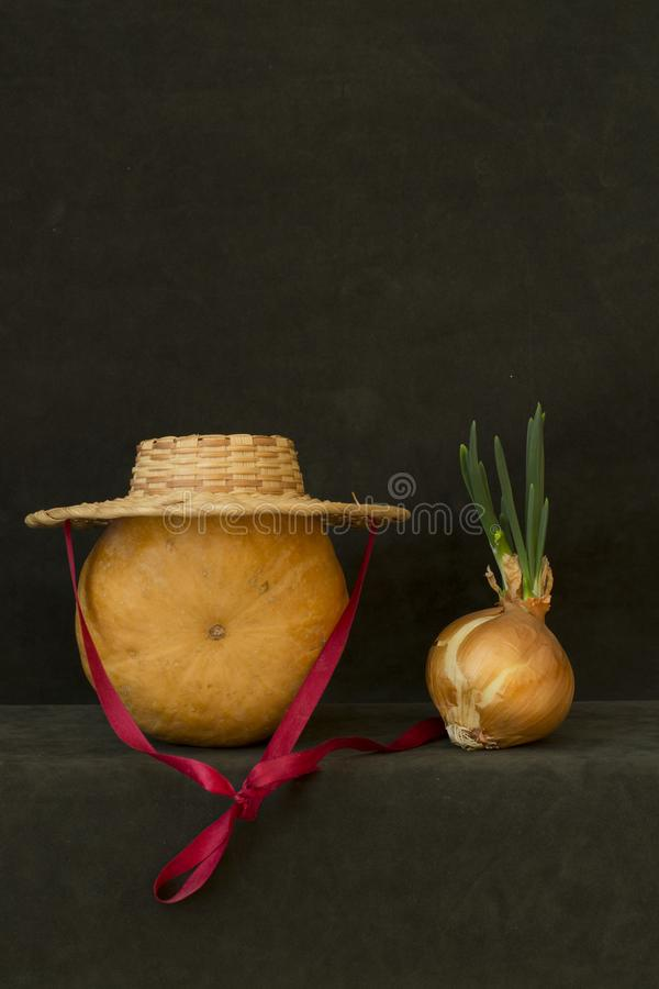 Still life with pumpkin, hat and sprouted onions. Still life with pumpkin, hat and sprouted onions stock photos