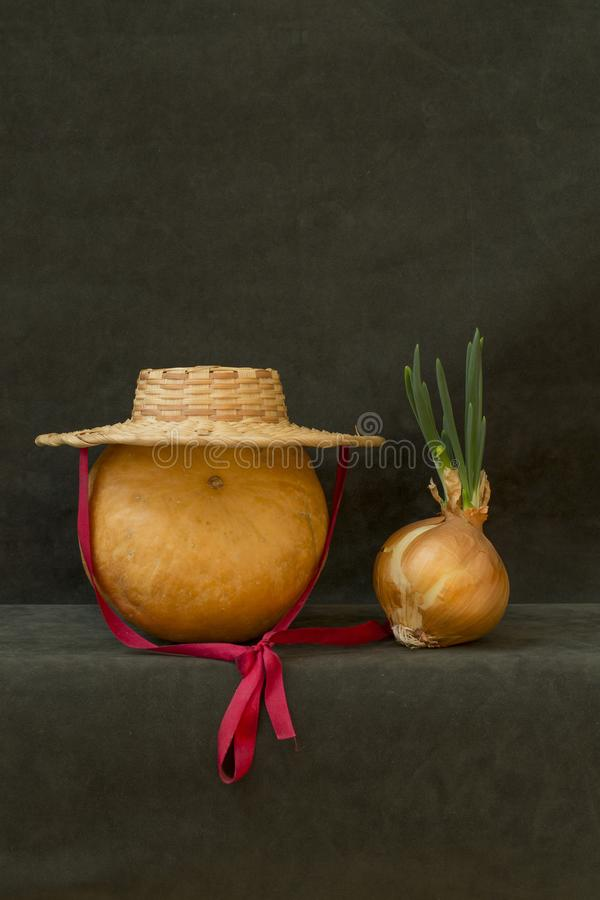 Still life with pumpkin, hat and sprouted onions. Still life with pumpkin, hat and sprouted onions stock photo
