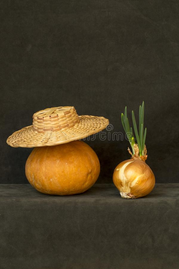 Still life with pumpkin, hat and sprouted onions. Still life with pumpkin, hat and sprouted onions royalty free stock images